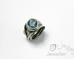 Blue Zircon Ring Bespoke Handmade ring from Hobart Jewellery shop Jai Hay Jeweller
